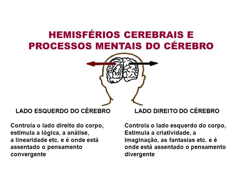 LADO ESQUERDO DO CÉREBRO Controla o lado direito do corpo, estimula a lógica, a análise, a linearidade etc.