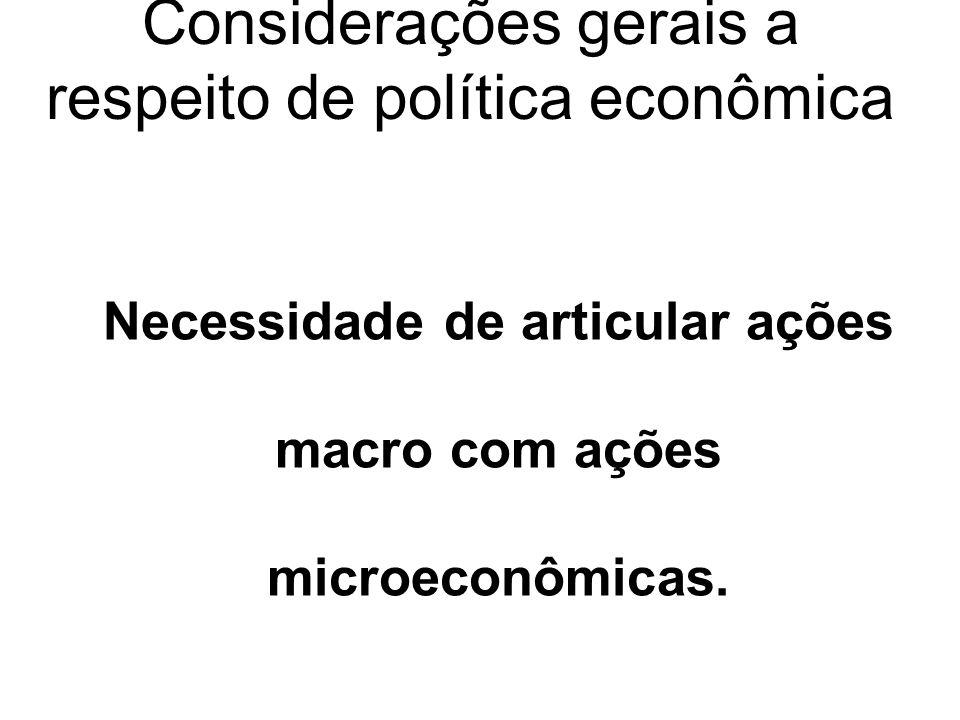 Considerações gerais a respeito de política econômica Necessidade de articular ações macro com ações microeconômicas.