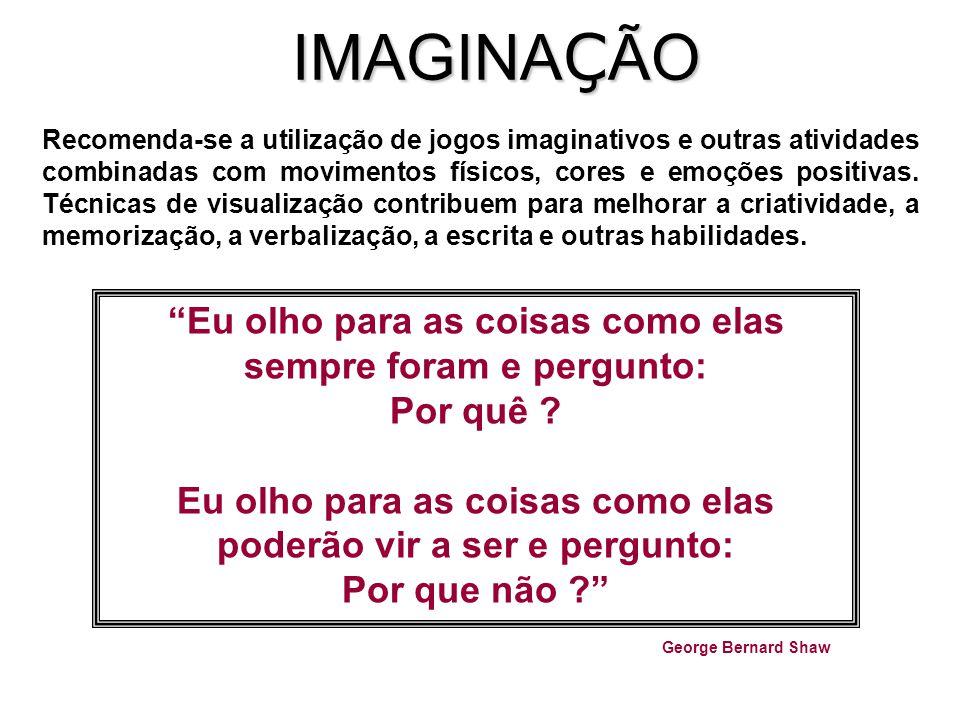 IMAGINA Ç ÃO Recomenda-se a utilização de jogos imaginativos e outras atividades combinadas com movimentos físicos, cores e emoções positivas.
