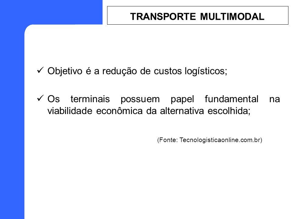 Objetivo é a redução de custos logísticos; Os terminais possuem papel fundamental na viabilidade econômica da alternativa escolhida; (Fonte: Tecnologisticaonline.com.br) TRANSPORTE MULTIMODAL