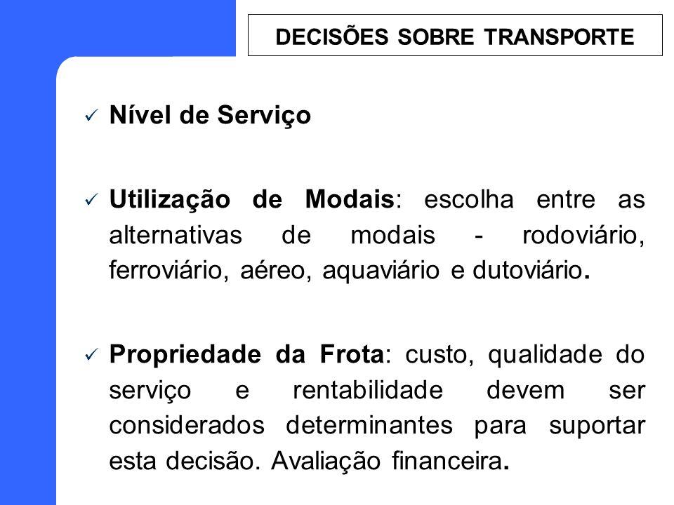 Nível de Serviço Utilização de Modais: escolha entre as alternativas de modais - rodoviário, ferroviário, aéreo, aquaviário e dutoviário. Propriedade