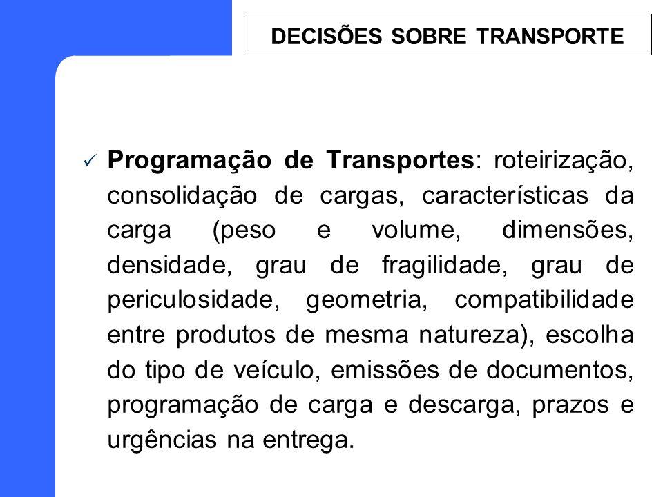 Programação de Transportes: roteirização, consolidação de cargas, características da carga (peso e volume, dimensões, densidade, grau de fragilidade,
