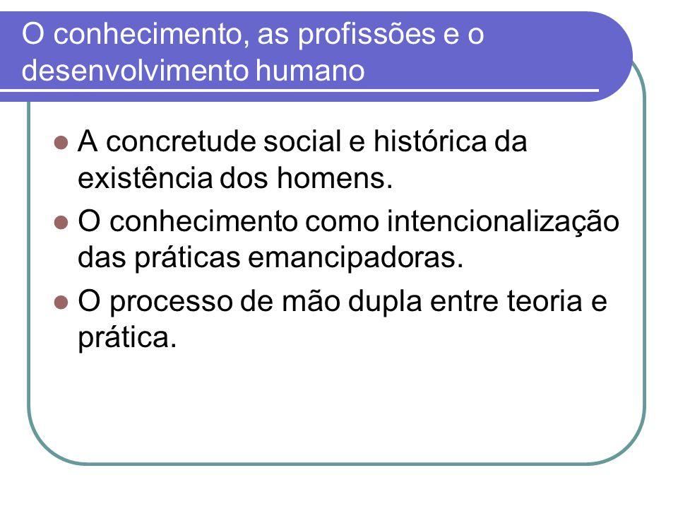 O conhecimento, as profissões e o desenvolvimento humano A concretude social e histórica da existência dos homens. O conhecimento como intencionalizaç