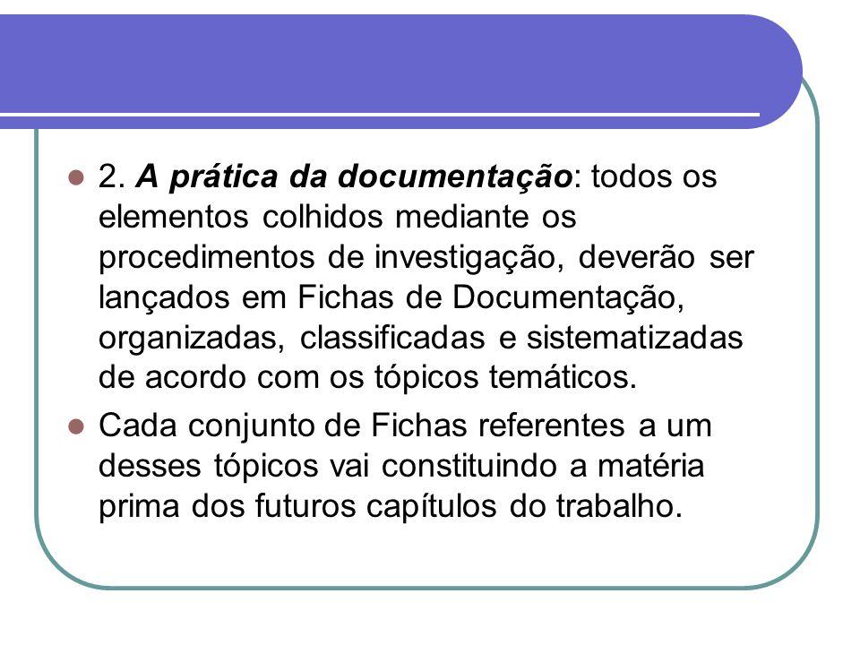 2. A prática da documentação: todos os elementos colhidos mediante os procedimentos de investigação, deverão ser lançados em Fichas de Documentação, o