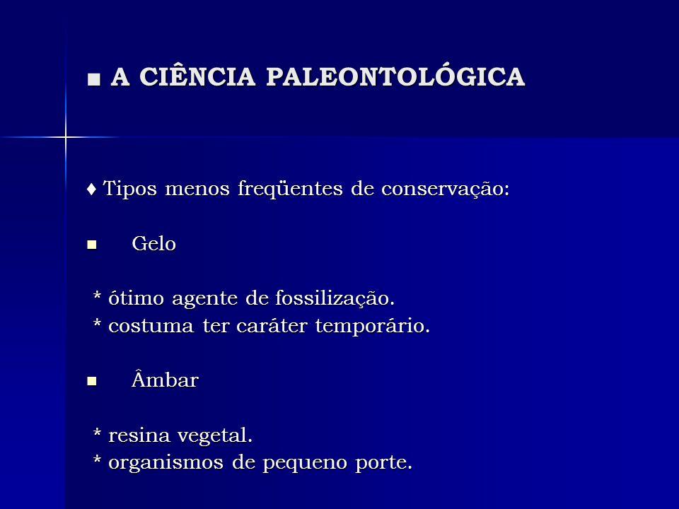 A CIÊNCIA PALEONTOLÓGICA A CIÊNCIA PALEONTOLÓGICA Tipos menos freqüentes de conservação: Tipos menos freqüentes de conservação: Gelo Gelo * ótimo agen