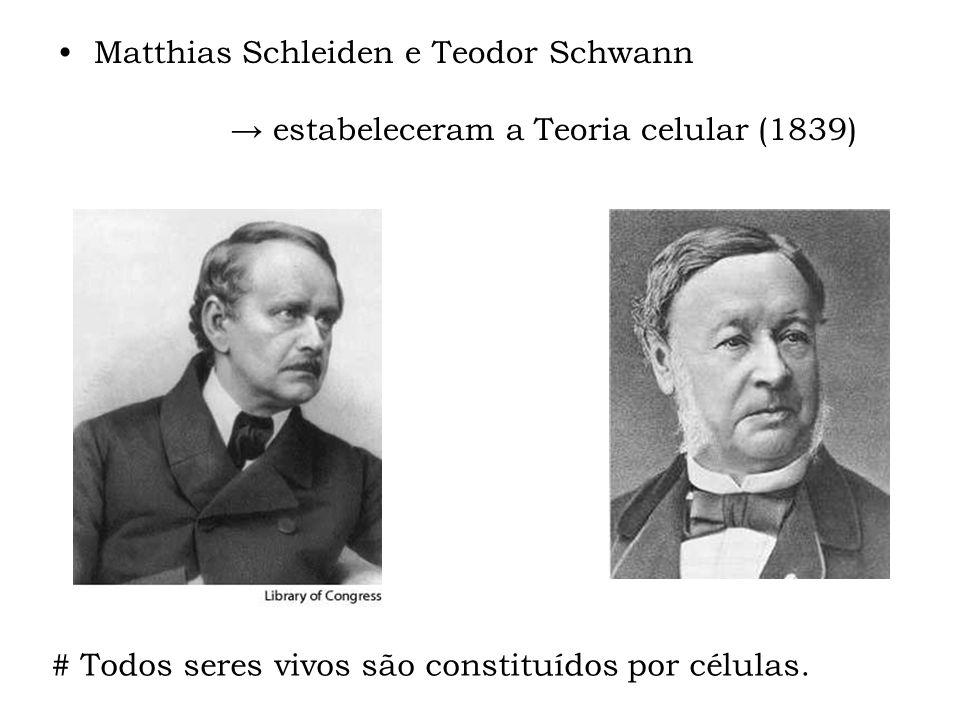 Matthias Schleiden e Teodor Schwann estabeleceram a Teoria celular (1839) # Todos seres vivos são constituídos por células.