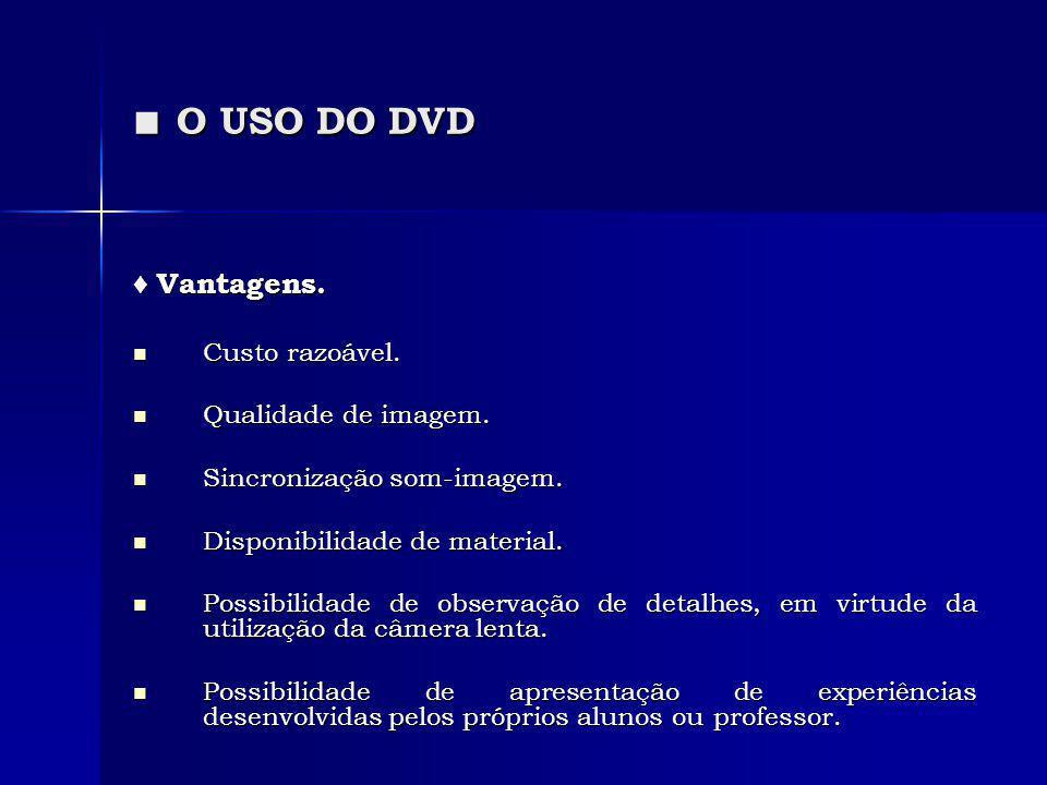 O USO DO DVD O USO DO DVD Vantagens. Vantagens. Custo razoável. Custo razoável. Qualidade de imagem. Qualidade de imagem. Sincronização som-imagem. Si