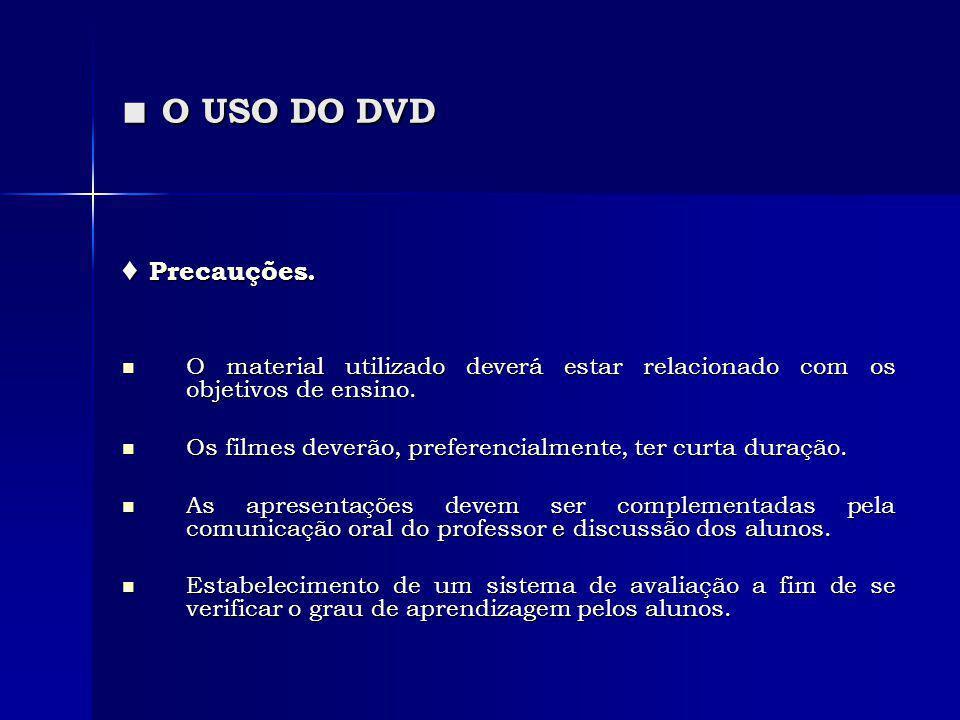 O USO DO DVD O USO DO DVD Precauções. Precauções. O material utilizado deverá estar relacionado com os objetivos de ensino. O material utilizado dever