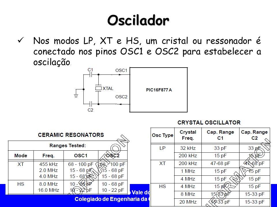 Universidade Federal do Vale do São Francisco - UNIVASF Colegiado de Engenharia da Computação – CECOMP Oscilador Nos modos LP, XT e HS, um cristal ou