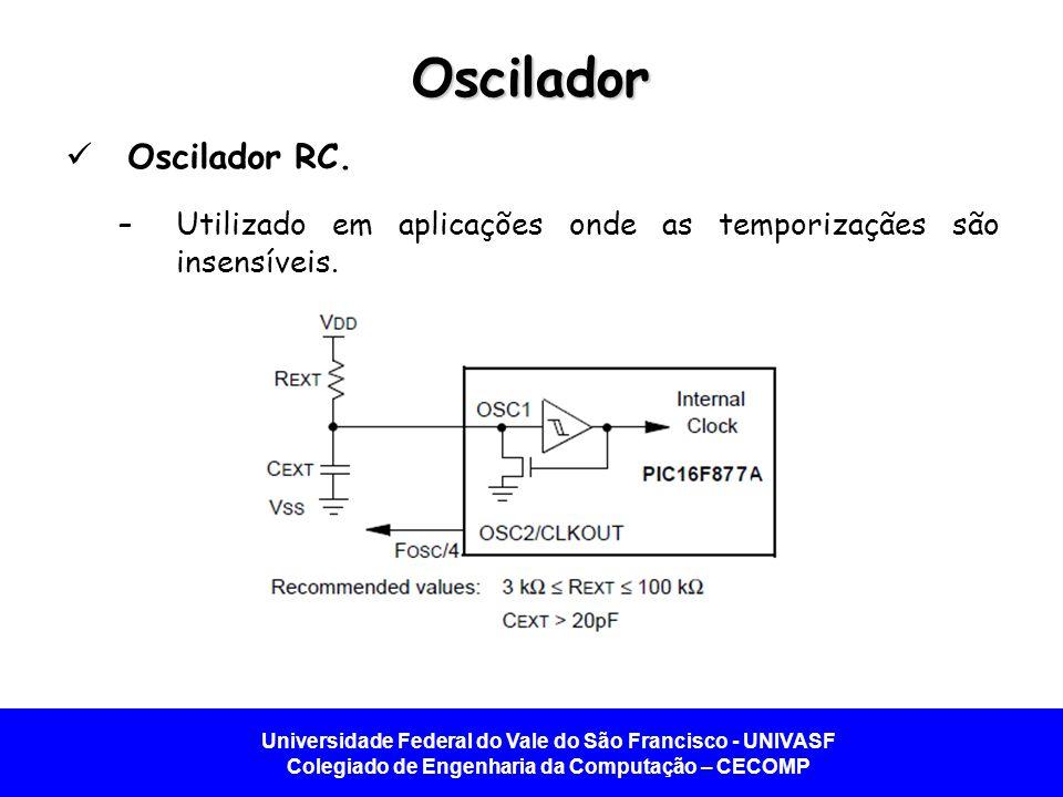 Universidade Federal do Vale do São Francisco - UNIVASF Colegiado de Engenharia da Computação – CECOMP Oscilador Oscilador RC. –Utilizado em aplicaçõe