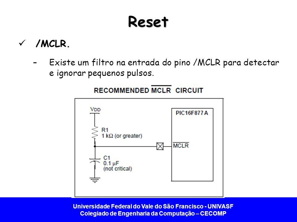 Universidade Federal do Vale do São Francisco - UNIVASF Colegiado de Engenharia da Computação – CECOMP Reset /MCLR. –Existe um filtro na entrada do pi