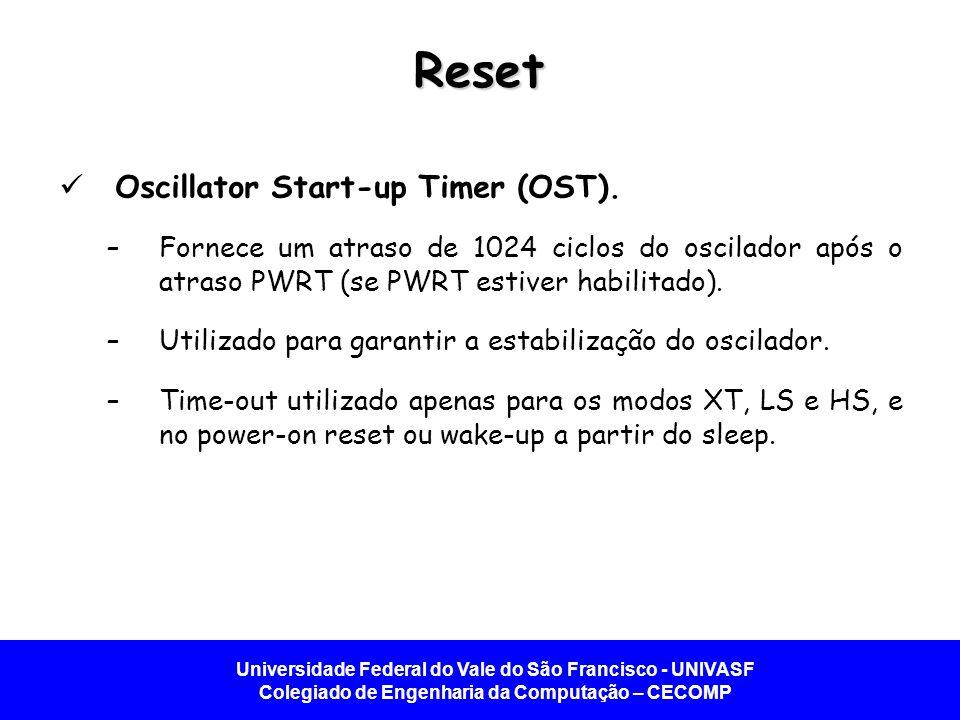 Universidade Federal do Vale do São Francisco - UNIVASF Colegiado de Engenharia da Computação – CECOMP Reset Oscillator Start-up Timer (OST). –Fornece