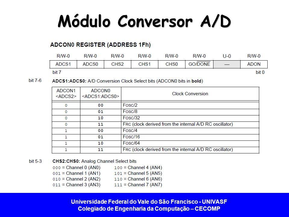 Universidade Federal do Vale do São Francisco - UNIVASF Colegiado de Engenharia da Computação – CECOMP Módulo Conversor A/D