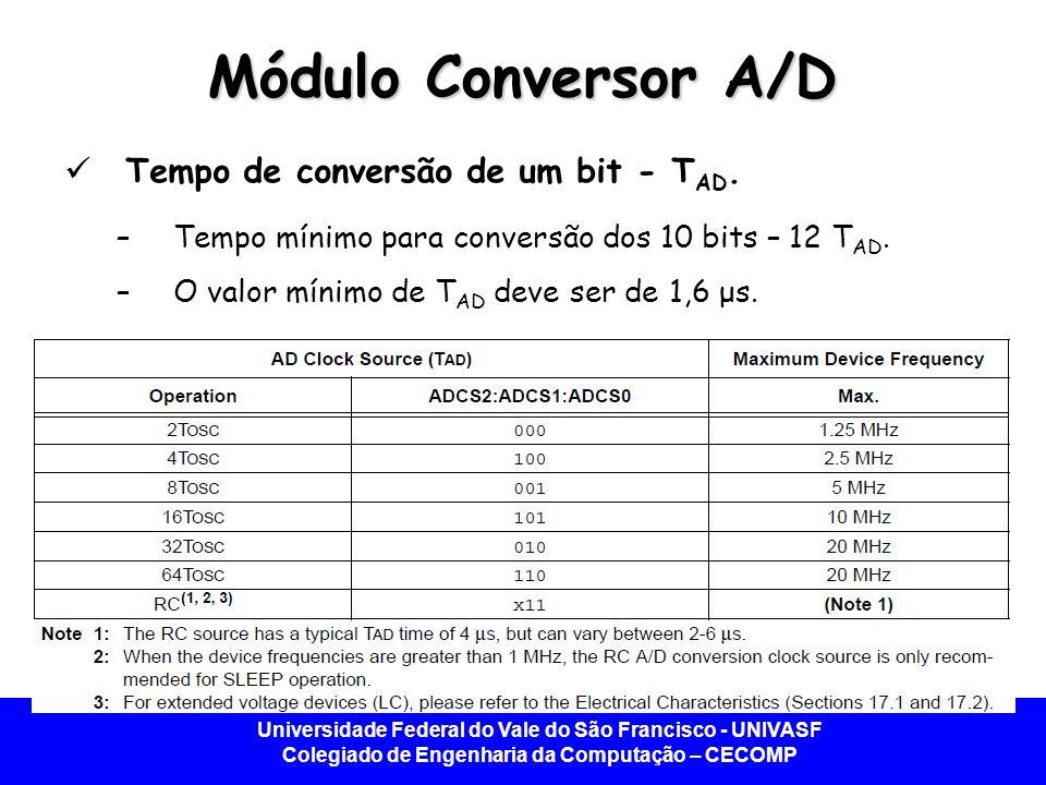 Universidade Federal do Vale do São Francisco - UNIVASF Colegiado de Engenharia da Computação – CECOMP Módulo Conversor A/D Tempo de conversão de um b