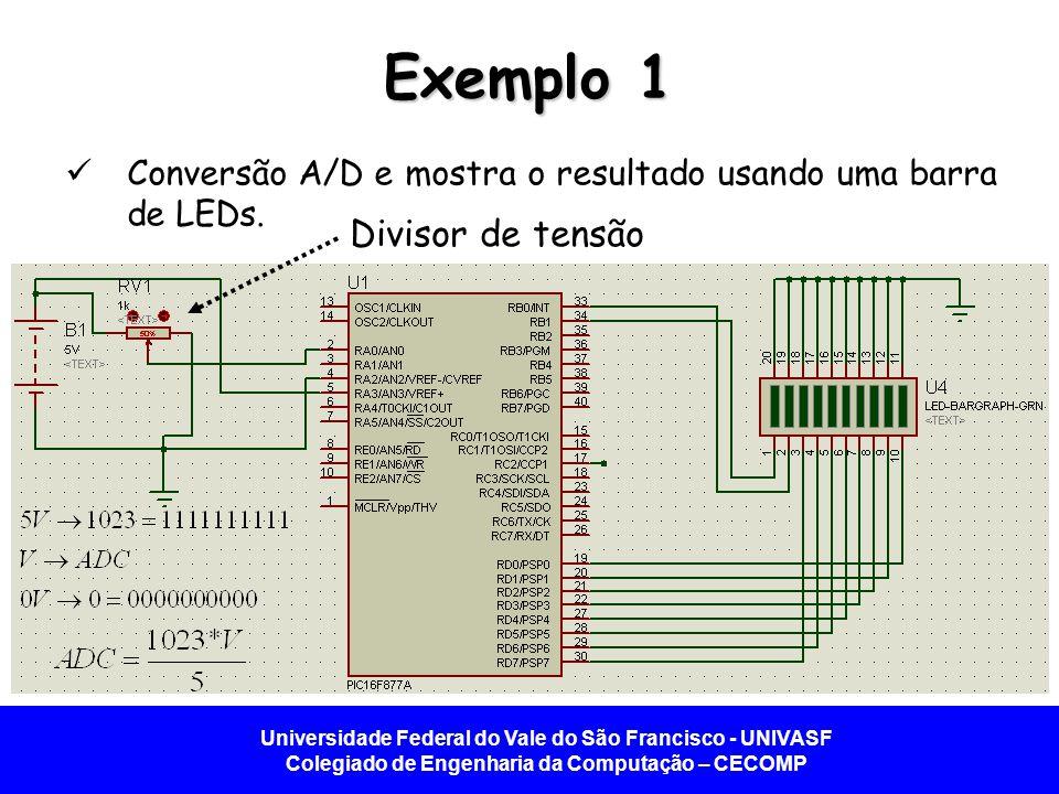 Universidade Federal do Vale do São Francisco - UNIVASF Colegiado de Engenharia da Computação – CECOMP Exemplo 1 Conversão A/D e mostra o resultado us