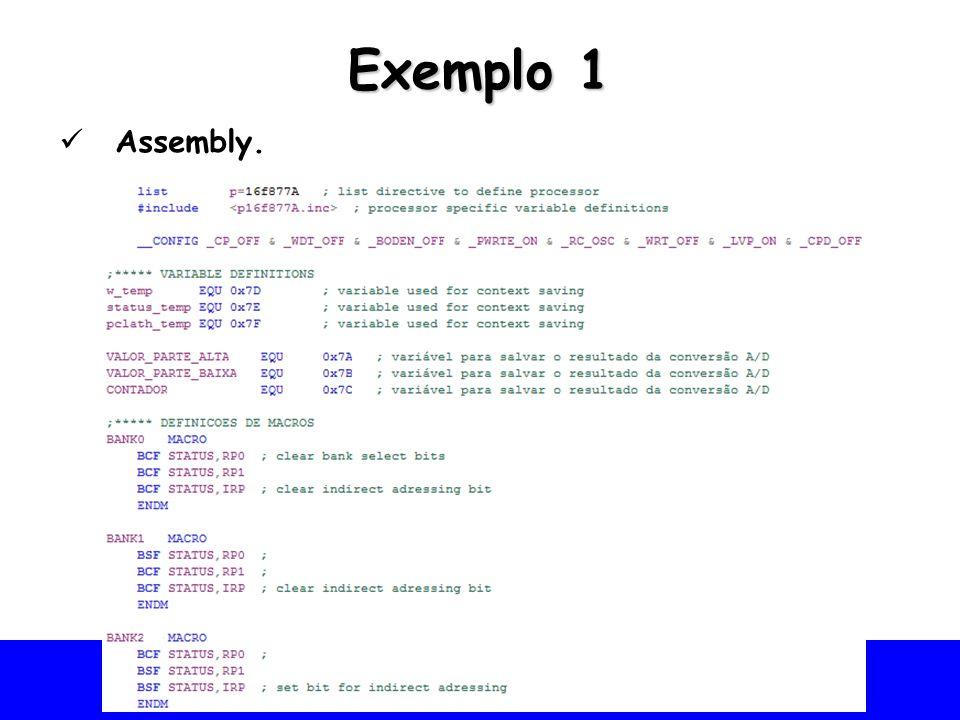 Universidade Federal do Vale do São Francisco - UNIVASF Colegiado de Engenharia da Computação – CECOMP Exemplo 1 Assembly.