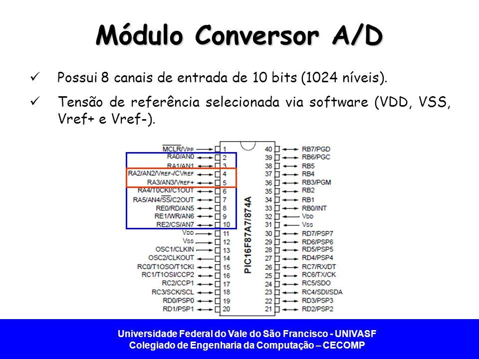 Universidade Federal do Vale do São Francisco - UNIVASF Colegiado de Engenharia da Computação – CECOMP Módulo Conversor A/D Possui 8 canais de entrada