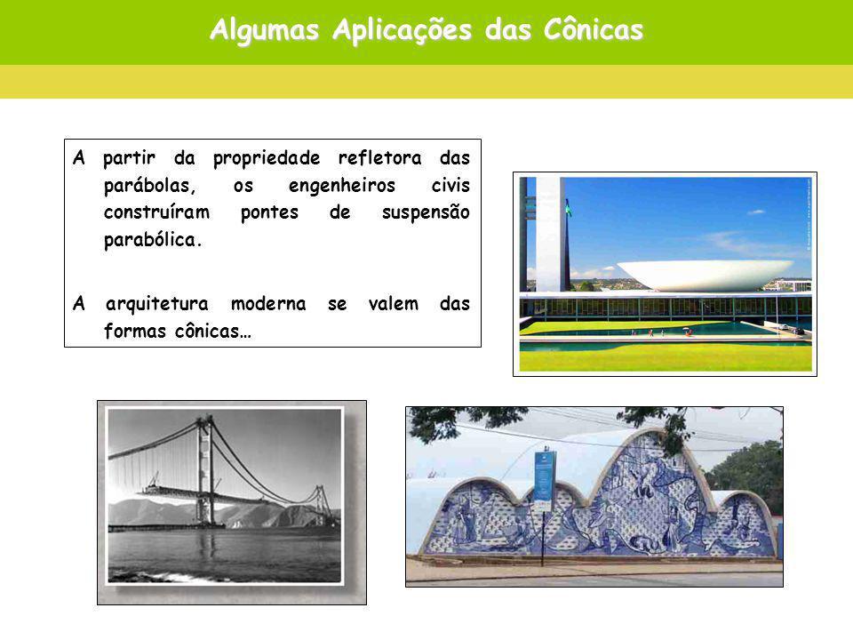 Algumas Aplicações das Cônicas A partir da propriedade refletora das parábolas, os engenheiros civis construíram pontes de suspensão parabólica.