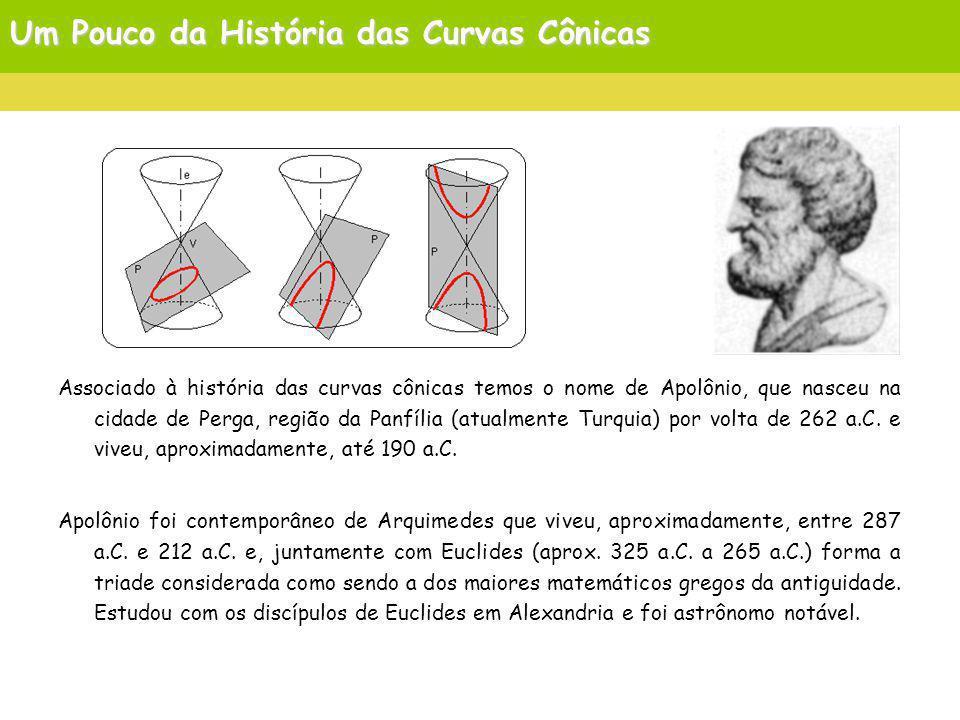 Um Pouco da História das Curvas Cônicas Associado à história das curvas cônicas temos o nome de Apolônio, que nasceu na cidade de Perga, região da Panfília (atualmente Turquia) por volta de 262 a.C.