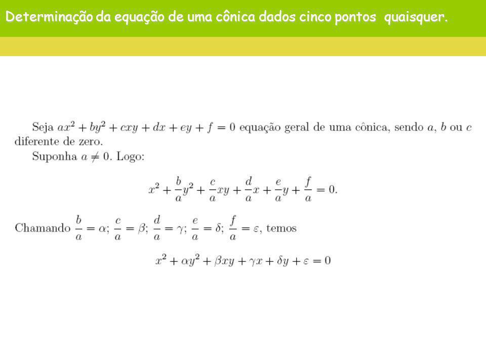 Determinação da equação de uma cônica dados cinco pontos quaisquer.