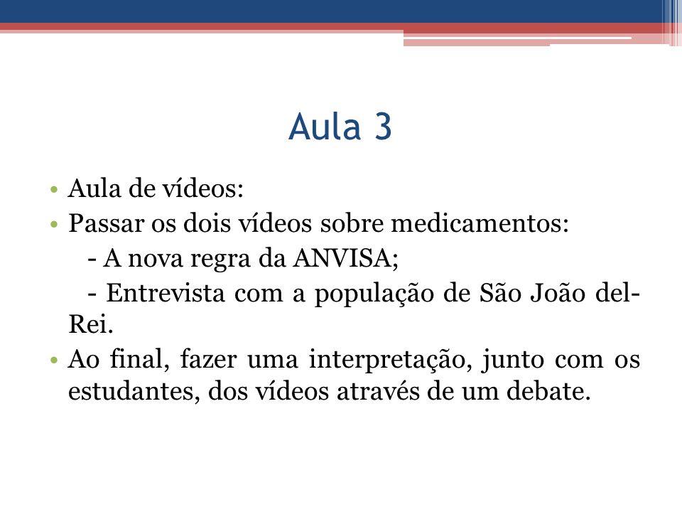 Aula 3 Aula de vídeos: Passar os dois vídeos sobre medicamentos: - A nova regra da ANVISA; - Entrevista com a população de São João del- Rei. Ao final