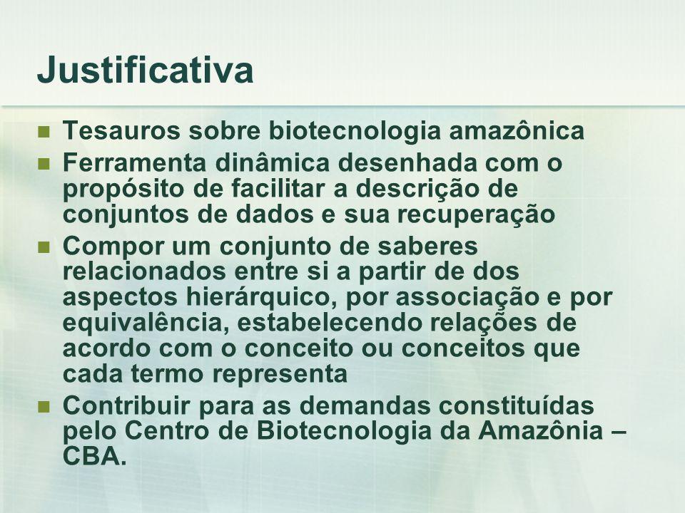 Objetivo Geral Constituir um tesauros sobre a biotecnologia como ferramenta dinâmica capaz de promover eficazmente o processo de recuperação da informação.