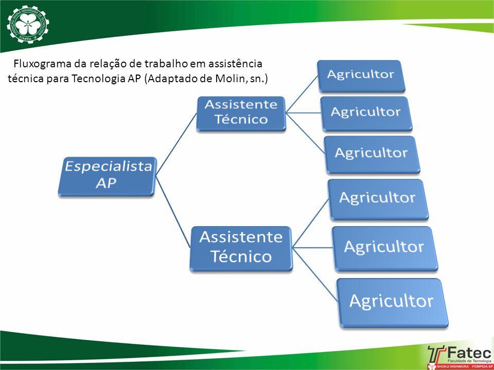 Fluxograma da relação de trabalho em assistência técnica para Tecnologia AP (Adaptado de Molin, sn.)