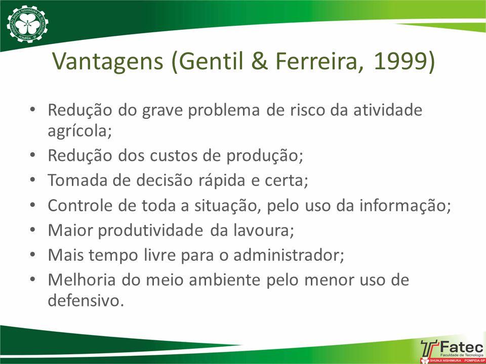 Vantagens (Gentil & Ferreira, 1999) Redução do grave problema de risco da atividade agrícola; Redução dos custos de produção; Tomada de decisão rápida