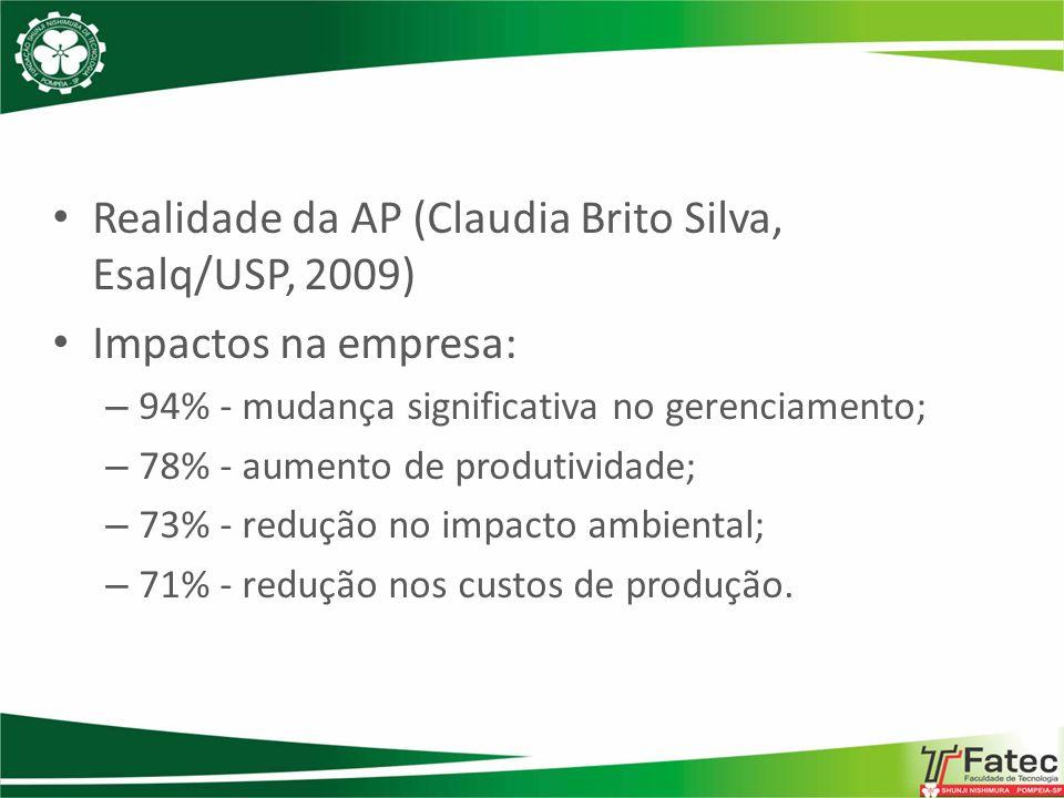 Realidade da AP (Claudia Brito Silva, Esalq/USP, 2009) Impactos na empresa: – 94% - mudança significativa no gerenciamento; – 78% - aumento de produti