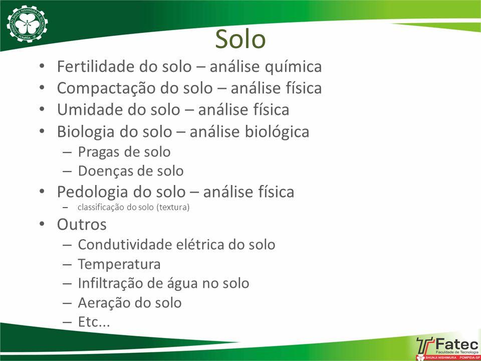Fertilidade do solo – análise química Compactação do solo – análise física Umidade do solo – análise física Biologia do solo – análise biológica – Pra