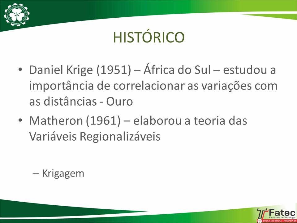Daniel Krige (1951) – África do Sul – estudou a importância de correlacionar as variações com as distâncias - Ouro Matheron (1961) – elaborou a teoria