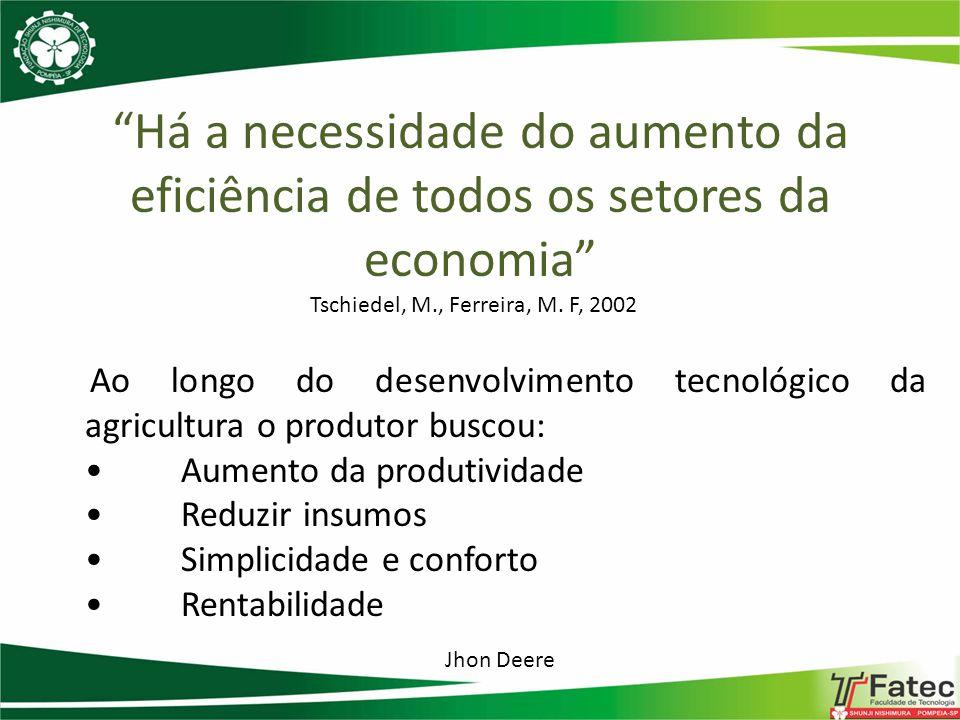 Há a necessidade do aumento da eficiência de todos os setores da economia Tschiedel, M., Ferreira, M. F, 2002 Ao longo do desenvolvimento tecnológico