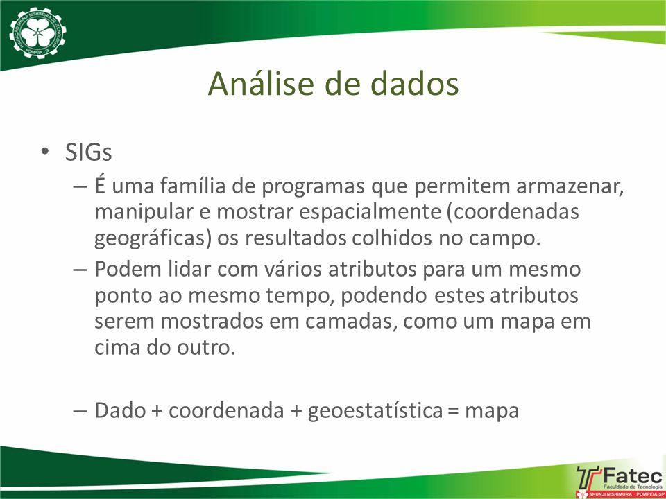 SIGs – É uma família de programas que permitem armazenar, manipular e mostrar espacialmente (coordenadas geográficas) os resultados colhidos no campo.