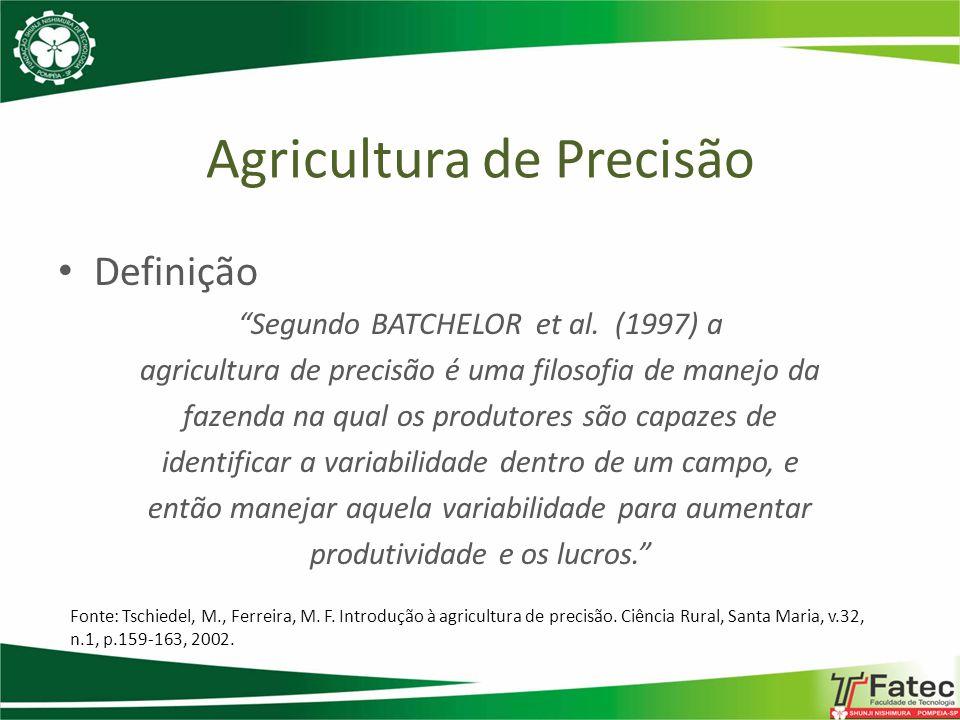 Agricultura de Precisão Definição A agricultura de precisão é uma filosofia de gerenciamento agrícola que parte de informações exatas, precisas e se completa com decisões exatas.