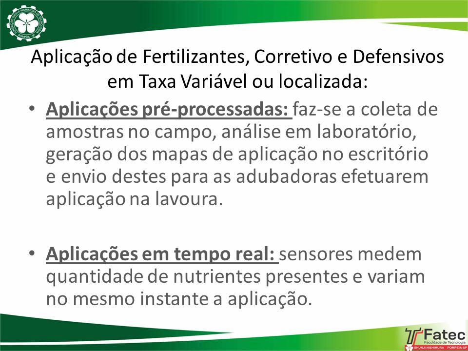 Aplicação de Fertilizantes, Corretivo e Defensivos em Taxa Variável ou localizada: Aplicações pré-processadas: faz-se a coleta de amostras no campo, a