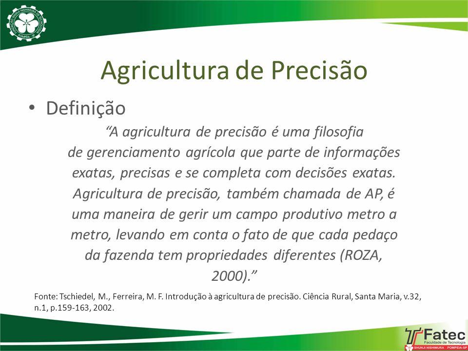 Agricultura de Precisão Definição O termo agricultura de precisão engloba o uso de tecnologias atuais para o manejo de solo, insumos e culturas, de modo adequado às variações espaciais e temporais em fatores que afetam a produtividade das mesmas (EMBRAPA, 1997).