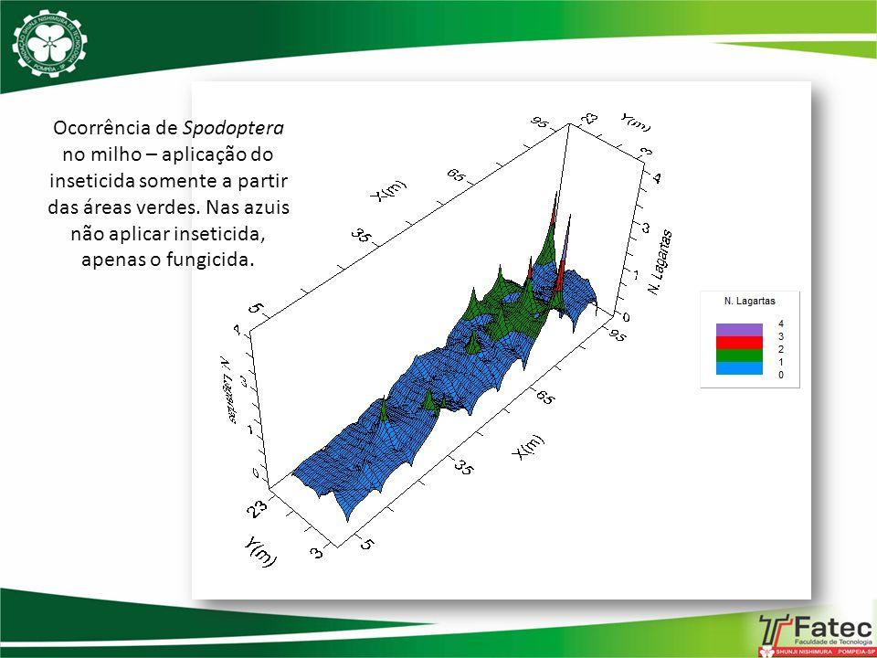 Ocorrência de Spodoptera no milho – aplicação do inseticida somente a partir das áreas verdes. Nas azuis não aplicar inseticida, apenas o fungicida.