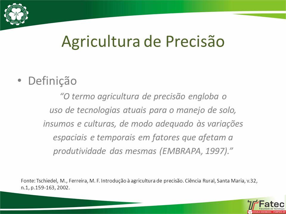Molin, 2008 Definição Um sistema de gestão ou gerenciamento da produção agrícola Um elenco de tecnologias e procedimentos utilizados para que a lavouras e o sistema de produção seja otimizado, tendo como elemento chave o gerenciamento da variabilidade espacial da produção e dos fatores a ela relacionados Agricultura nas estrelas
