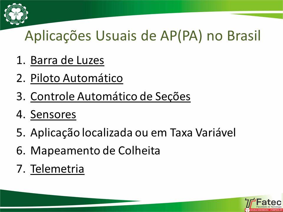 Aplicações Usuais de AP(PA) no Brasil 1.Barra de Luzes 2.Piloto Automático 3.Controle Automático de Seções 4.Sensores 5.Aplicação localizada ou em Tax