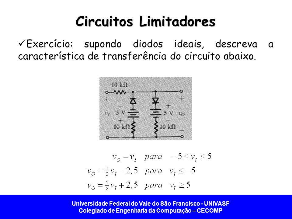 Universidade Federal do Vale do São Francisco - UNIVASF Colegiado de Engenharia da Computação – CECOMP Circuitos Limitadores Exercício: supondo diodos ideais, descreva a característica de transferência do circuito abaixo.