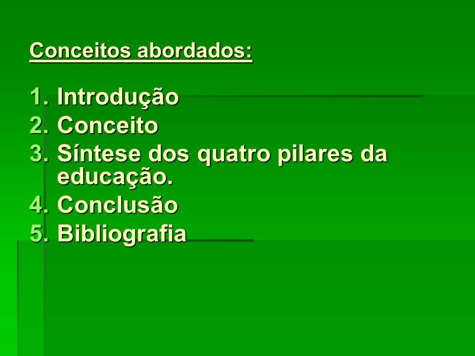 Introdução : Os quatro pilares da Educação são: Os quatro pilares da Educação são: conceitos de fundamento da educação baseado no Relatório para a UNESCO da Comissão Internacional sobre Educação para o Século XXI, coordenada por Jacques Delors.