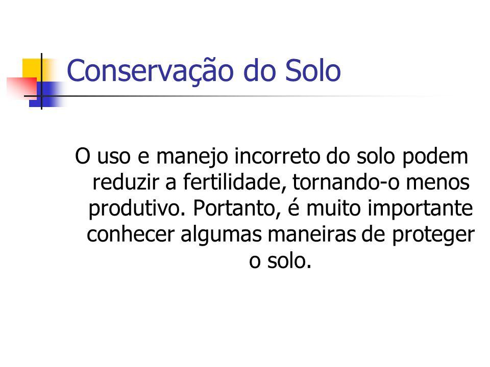 Conservação do Solo O uso e manejo incorreto do solo podem reduzir a fertilidade, tornando-o menos produtivo. Portanto, é muito importante conhecer al