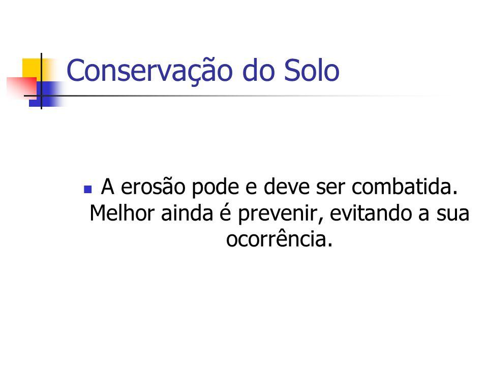 Conservação do Solo A erosão pode e deve ser combatida. Melhor ainda é prevenir, evitando a sua ocorrência.