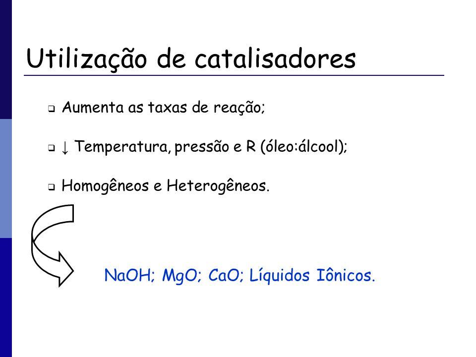 Utilização de catalisadores Aumenta as taxas de reação; Temperatura, pressão e R (óleo:álcool); Homogêneos e Heterogêneos. NaOH; MgO; CaO; Líquidos Iô