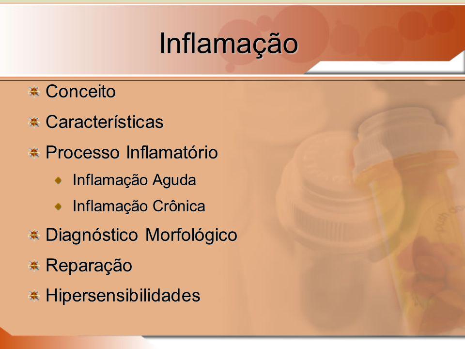 Inflamação ConceitoCaracterísticas Processo Inflamatório Inflamação Aguda Inflamação Crônica Diagnóstico Morfológico ReparaçãoHipersensibilidades