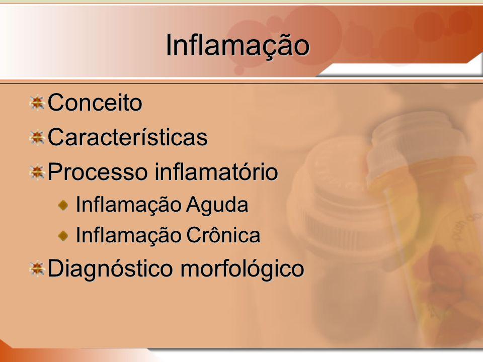 Inflamação ConceitoCaracterísticas Processo inflamatório Inflamação Aguda Inflamação Crônica Diagnóstico morfológico