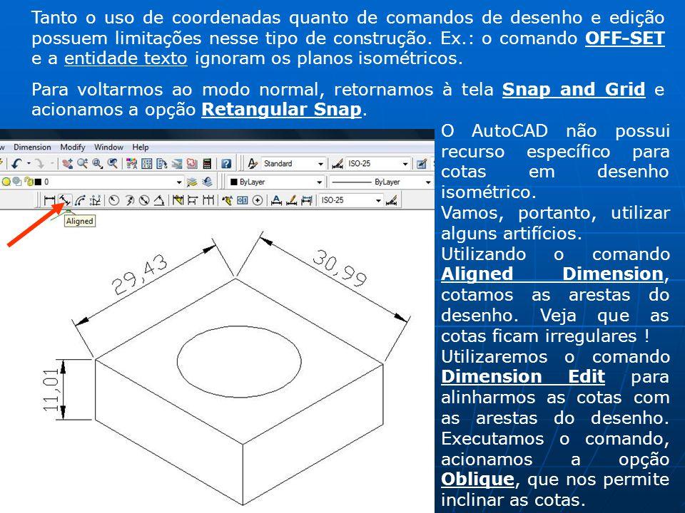 Tanto o uso de coordenadas quanto de comandos de desenho e edição possuem limitações nesse tipo de construção. Ex.: o comando OFF-SET e a entidade tex