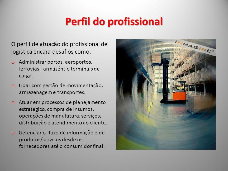 Perfil do profissional O perfil de atuação do profissional de logística encara desafios como: o Administrar portos, aeroportos, ferrovias, armazéns e terminais de carga.