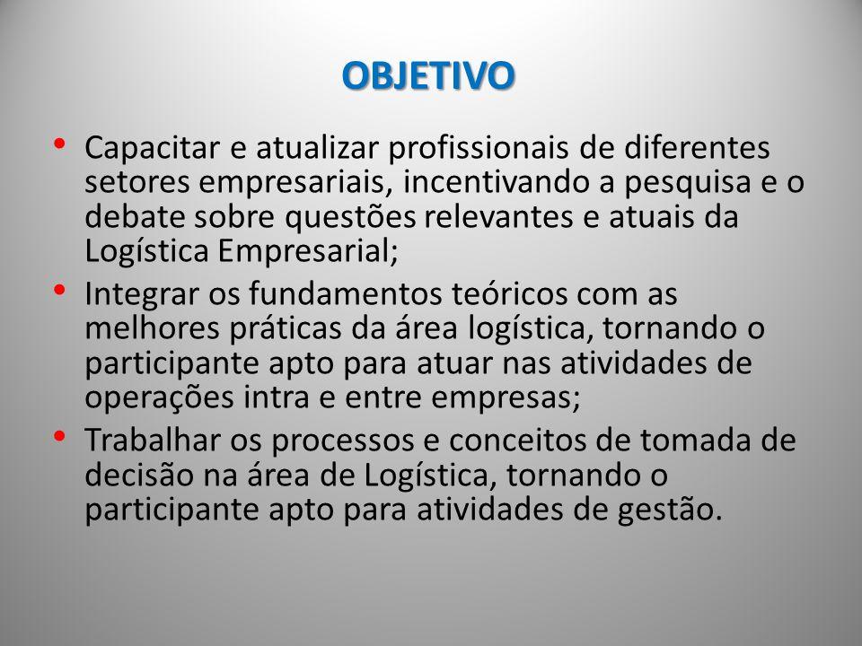 Público Alvo - Profissionais graduados em qualquer área do conhecimento, que desejem adquirir conhecimento sobre as melhores práticas de gestão e operação logística.