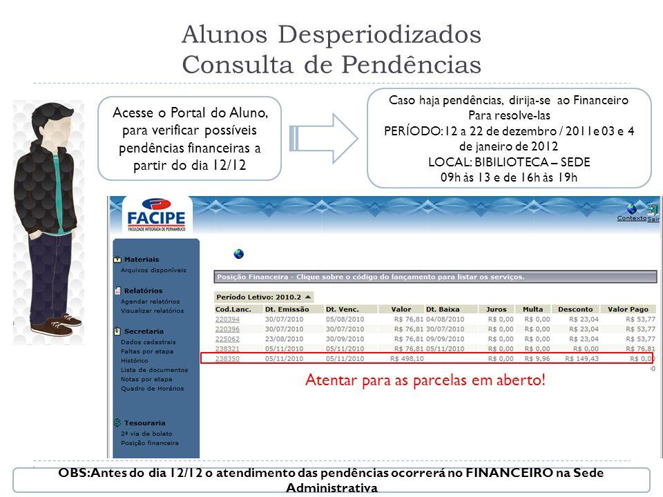 Alunos Desperiodizados Consulta de Pendências Acesse o Portal do Aluno, para verificar possíveis pendências financeiras a partir do dia 12/12 Atentar